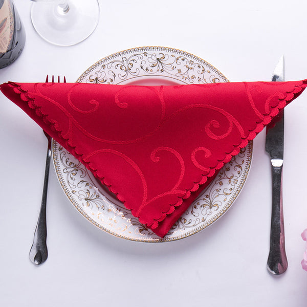 6pc/lot 46x46cm Embroidered Flower Wedding Table Napkins Cloth Polyster Cotton Satin Wedding Table Decoration Pink Yellow Red