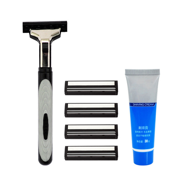 1pcs High Quality Convenient Easy To Carry Double Manual Shaver Set Double Manual Shaver Set With Shaver Shaving Cream Blade