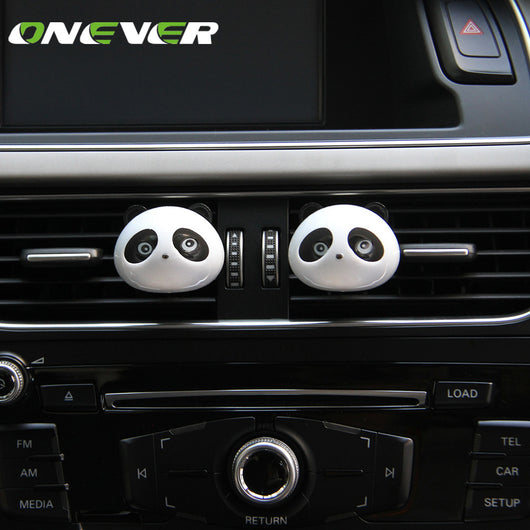 Onever 2pcs Mini Panda Car Air Vent Air Freshener Clip-on Car Aromatherapy Fragrance Diffuser Air Purifier Car Perfume