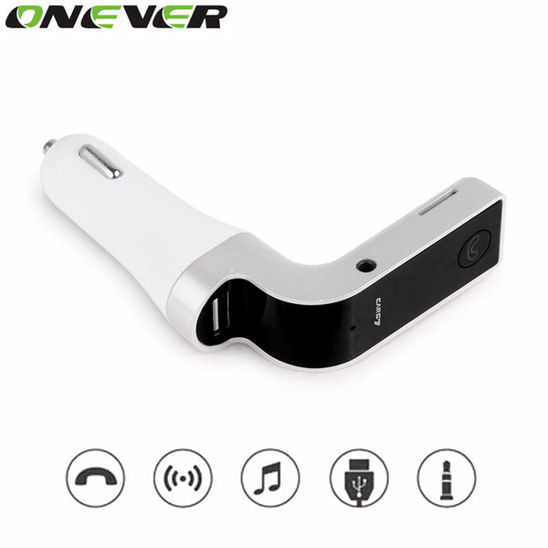 Bluetooth Handsfree Car Kit Wireless Bluetooth FM Transmitter MP3 Player Car Kit Charger For iPhone6 Samsung Smart Phone Silver