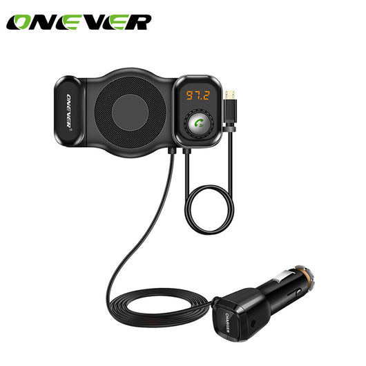 Onever FM Transmitter Bluetooth MP3 Player with USB QC 3.0 Quick Charger Phone Holder for Phone Tablet GPS Car Kit Support Siri