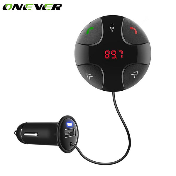 Onever Bluetooth Car Kit Hands-free Wireless FM Transmitter LCD Display MP3 Player Support SD TF Card USB Car Charger For Phone