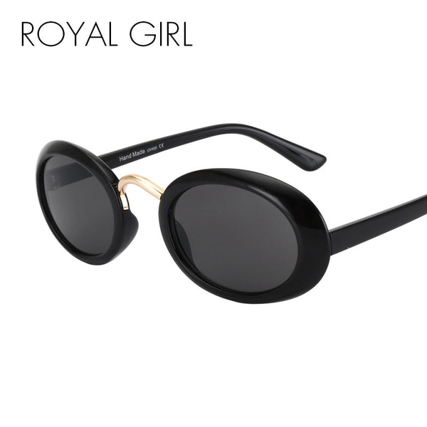 ROYAL GIRL New Design Oval Sunglasses Women Round Acetate Frame Red Pink Brown Gray Lens Sun Glasses ss698
