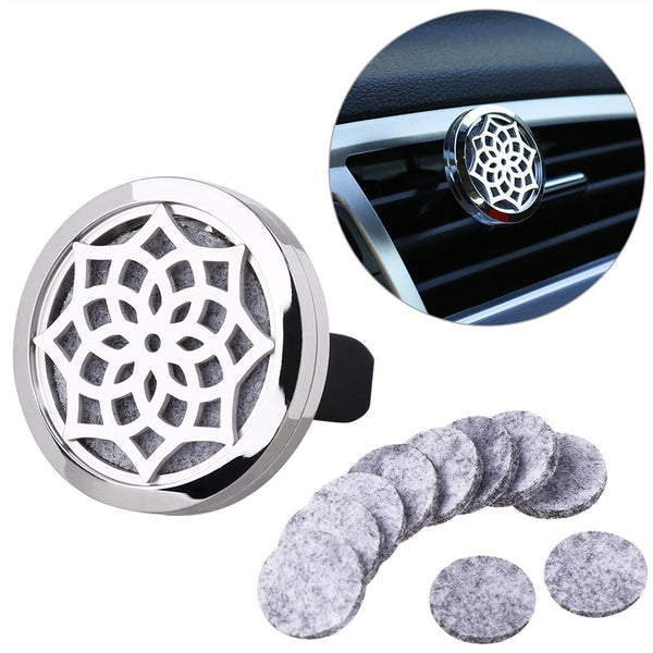 ULTNICE 316L Stainless Steel Sunflower Shaped Aromatherapy Home Car Essential Oil Diffuser Locket Clip with 10 Washable Felt Refill Pads