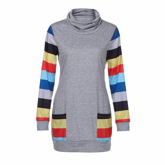 Womens Color Block Striped Blouse Long Sleeve Cowl Neck Patchwork Pocket Top