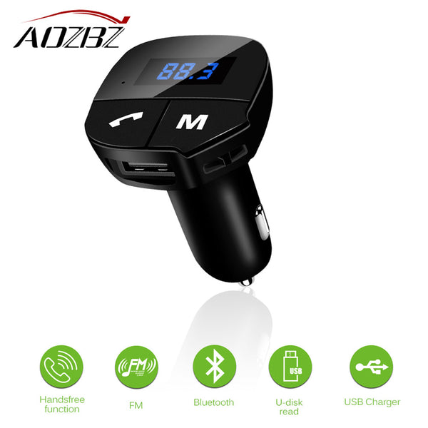 AOZBZ Wireless Bluetooth Car Kit FM Transmitter MP3 Audio Player Modulator with USB Car Charger Support hands-free phone calling