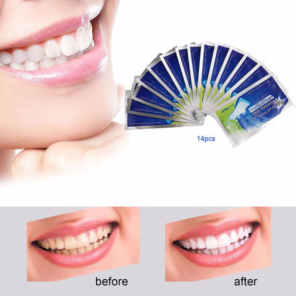 28Pcs/14Pair 3D White Gel Teeth Whitening Strips Oral Hygiene Care Double Elastic Tooth Strips Whitening Dental Bleaching Tools