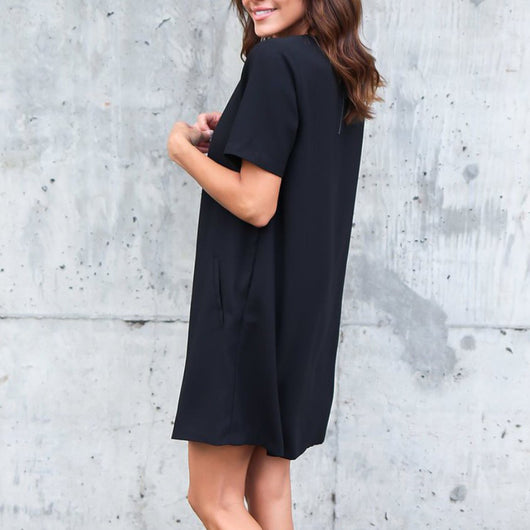 Womens Casual Solid Short Sleeveless Boyfriend Pocket Plain Dress