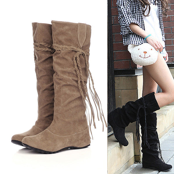 Women Heighten Platforms Thigh High Tessals Boots Motorcycle Shoes