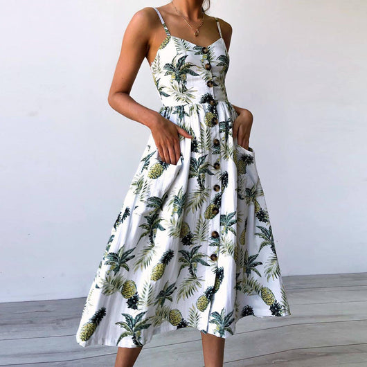 Women Sexy Printing Buttons Off Shoulder Sleeveless Dress Princess Dress