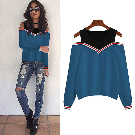 Women Sexy Off Shoulder Long Sleeve Sweatshirt Blouse Tops Pullovers