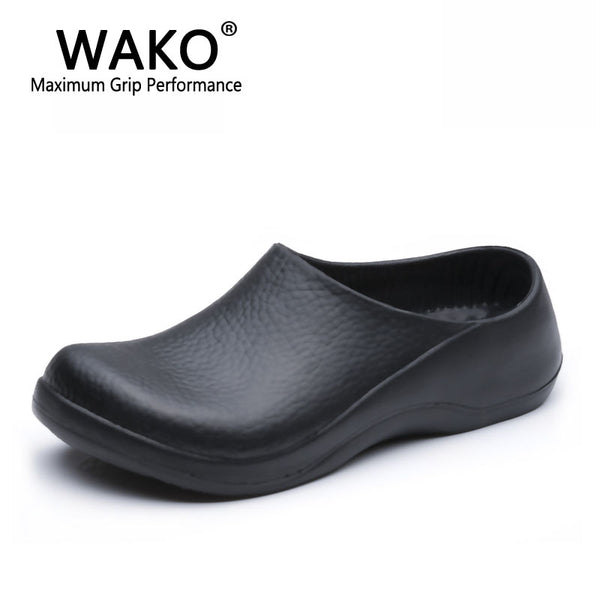 WAKO 9051 Chef Shoes for Men Black Sandals for Kitchen Restaurant Work Shoes Super Anti-skidding Safety Shoes Clogs Size 39-45