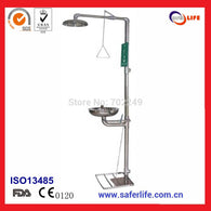 SL-S150 emergency safety stainless steel wall mounted eye wash station and shower equipment/machine ( with treadle)