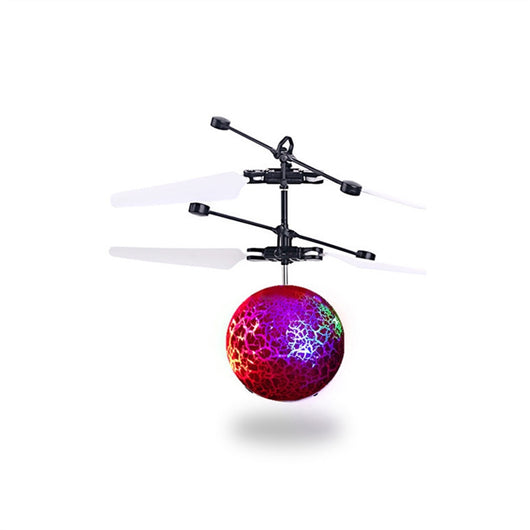 RC Flying Ball Crystal Flashing LED Light Flying Ball RC Toy RC Infrared Induction Helicopter Flying Toys for Kids Teenagers (Red)