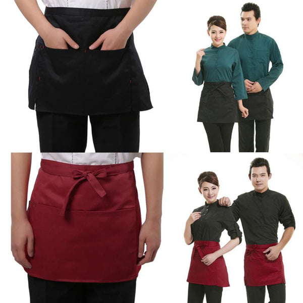 Universal Unisex Apron Short Waist Apron Kitchen Cooking Women Men Aprons with Pocket for Chef Waiter Waitress