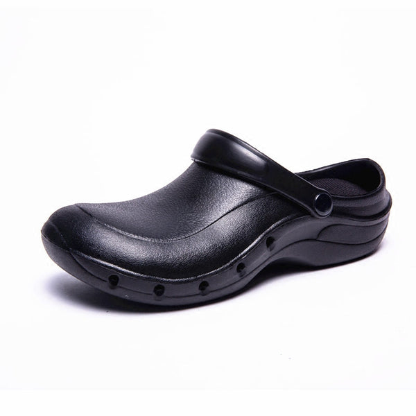 Wako 9016 Male Cook Shoes Oilproof Waterproof Chef Sandals Super Anti Slip Black Shoes Summer Clogs With Strap Restaurant Shoes