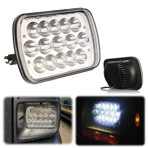 7x6 Inch 15 LED Light Bulbs Crystal Clear Sealed HI/LO Beam Lamp Headlight 45W For Jeep/Wrangler YJ Cherokee XJ