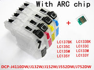 refillable Ink cartridge LC123 LC127 LC125 for Brother  DCP-J4110DW J132W J152W J552DW J752DW printer with auto reset chip empty