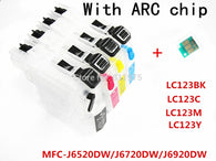 4 ink LC123 BK C M Y refillable Ink cartridge for Brother MFC-J6520DW/MFC-J6720DW/MFC-J6920DW printers with permanent chip