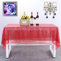 Table Cloth Starry Sequin Embroidered Tablecloth Table Cover Clothing Party Bar Restaurant Runner Stage Home Decor Polyester