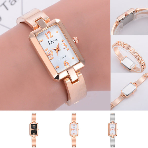 Rectangle watch Rose Gold Plated Women's Elegant Rhinestone Bracelet Fashion Watches