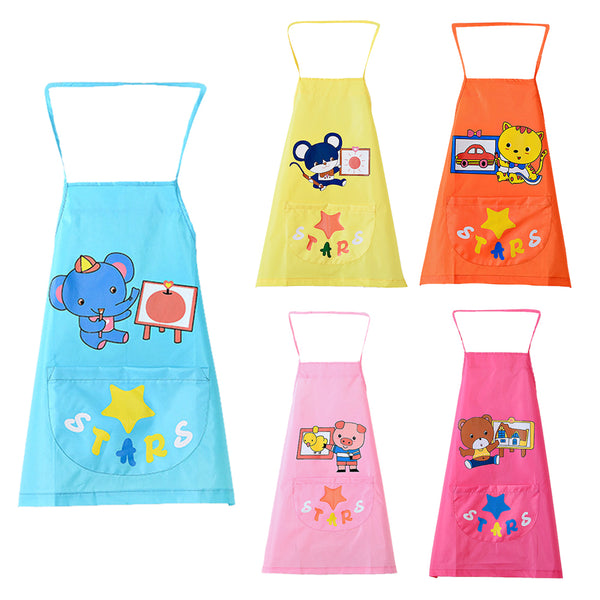 Baby Bib Burp Cartoon Art Smock Bibs Apron Infant Todders Kids Waterproof Self-feeding Bibs Burp Cloths
