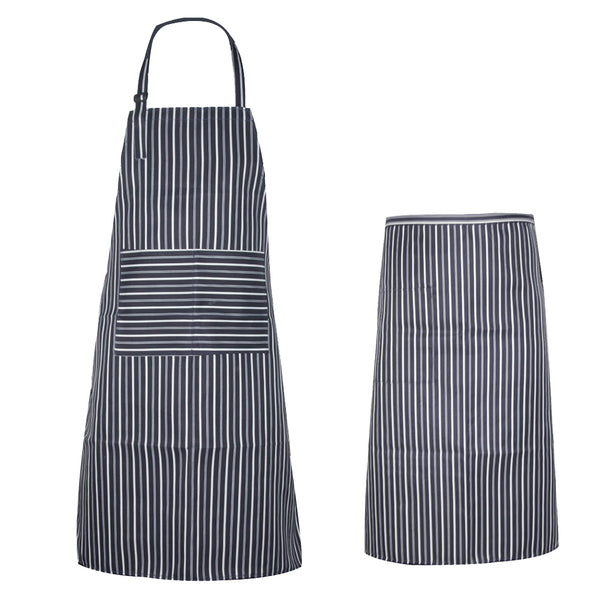 Polyester Stripe Apron Unisex Waterproof Oilproof Bib Apron Chef Waiter Kitchen  Cook Tool Home Restaurant Cooking Apron E5M1