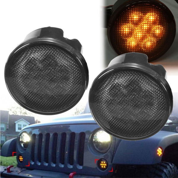 2Pcs Front Amber LED Turn Signal Lights12V DC Smoke Lens Direction Indicator Lamps Steering Lamps For Jeep Wrangler JK 2007-2016