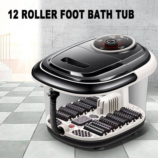 Fully Automatic Electric Roller Feet Basin Heating Foot Tub Foot Massage Machine Foot Spa Bath Massager US Plug new