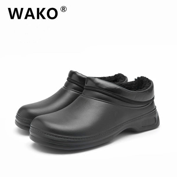WAKO JM9031 Men Chef Shoes for Winter Fur Lined Cook Shoes Anti-slip Oilproof Waterproof Shoes for Restaurant Kitchen #36-45