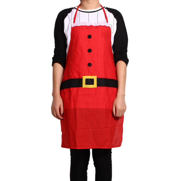 Unisex Red Christmas Applique Aprons Christmas Santa Claus Snowman Kitchen Cooking Waist Aprons with 2 Pockets for Men Women