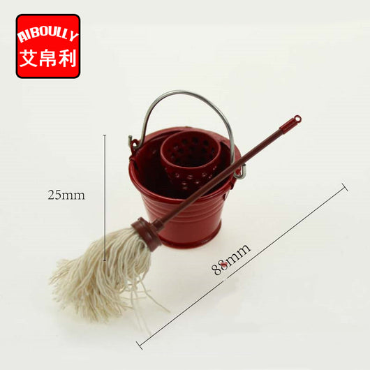 Bucket And Mop Miniature 1:12 Dollhouse Accessories Emulation Model Doll House Mini Toys