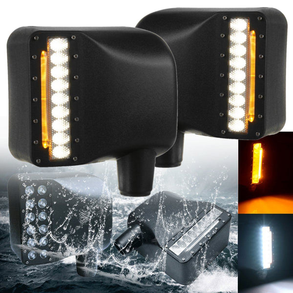 A Pair LED Turn Turning Lamp Daytime Running Light Rearview Mirror Lamp For Jeep For Wrangler 07-16 6000K White Yellow