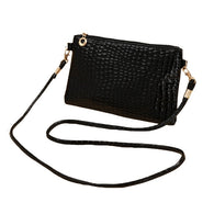 Cute Crocodile Patten Mini P U Leather Zipper Handbag for Women