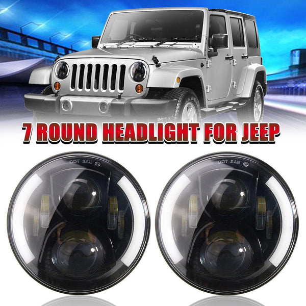 7inch Round LED Projector Headlights Beam H4 H13 For Jeep/Wrangler/Hummer H1 H2 50W 7000K 2009 2010 2011 2012 2013 2014 2015