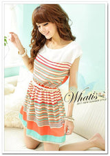 Fashion Women's Colorful Stripes Chiffon Party Mini Dress Clubwear Elastic Waist