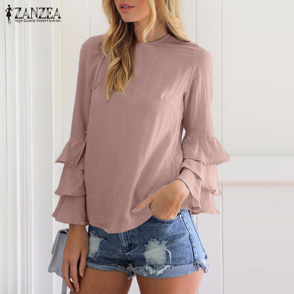 ZANZEA Women Tops 2018 Elegant Ladies Blouses Shirts O Neck Flounce Long Sleeve Solid Casual Loose Blusas Femininas Plus Size