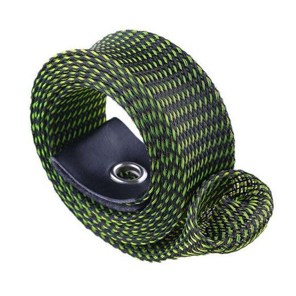 Portable Elastic Braided Buckled 135 Rod Cover Spinning Rod Protective Gloves 3cm*170cm Color:black+green