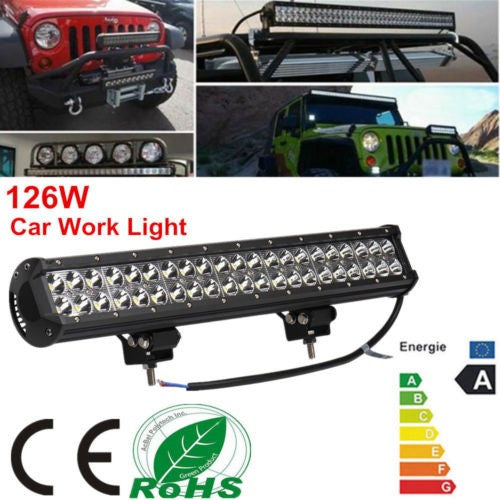 126W 4D LED Lens Combo Work Light Beam Light Car Truck Offroad LED Spotlight