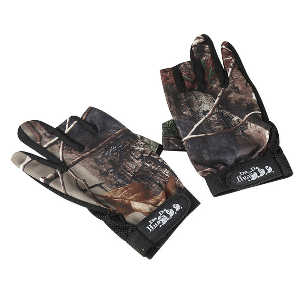 Camouflage 135 Gloves 3 Finger Gloves Antiskid Breathable Waterproof Sun Protection Fingerless Gloves for Outdoor Sport