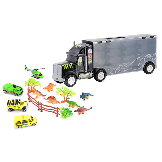 Car Carrier with Dinosaurs Car Helicopter Playset Vehicle Playset