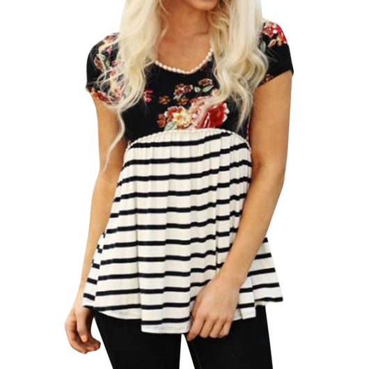 Women Short Sleeve Striped Floral Print Casual Loose Blouse Tassels T-Shirt Top