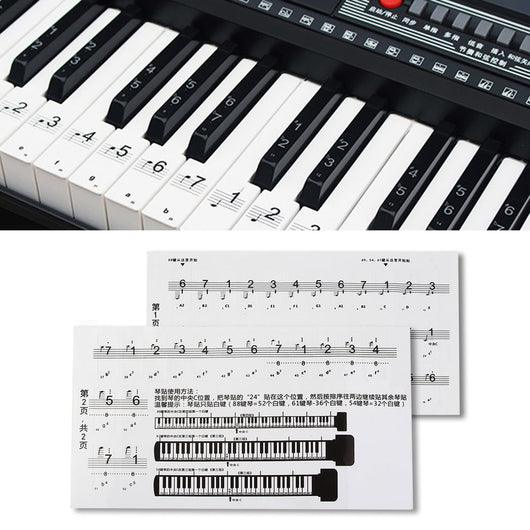 UNiversal 88 Key Piano Numbered Musical Notation Note Sticker for White Keys Transparent Piano Keyboard Sticker