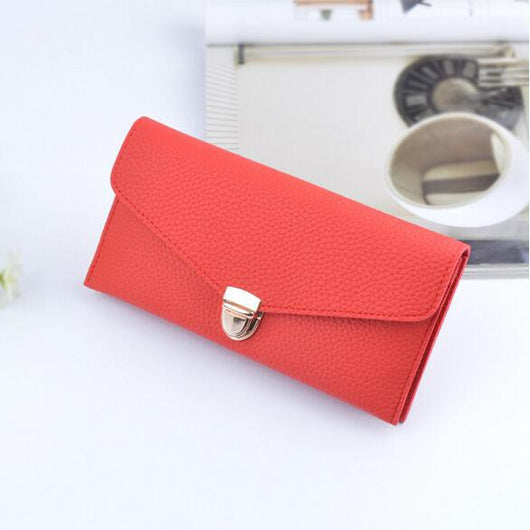 Solid color long wallet ladies clutch bag fashion lock litchi pattern wallet