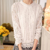 Women Solid Long Sleeve O Neck Lace Casual Tops  Blouse T-Shirt
