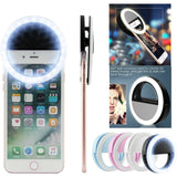 Selfie LED Light Ring Flash Fill Clip Camera For IPhone & Tablet For Samsung