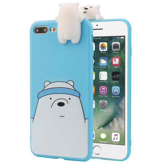 3D Cartoon Animals Cute Bare Bears Soft Silicone Case Skin For IPhone 8 Plus 5.5