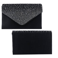 Ladies Large Evening Satin  Diamante Ladies Clutch Bag Party  Envelope Bag
