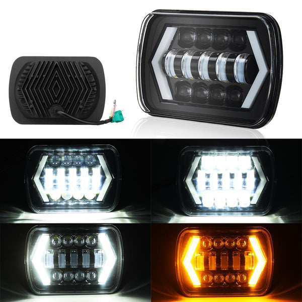 7x6'' LED Headlight Hi-Lo Beam Halo DRL For Toyota /Jeep Cherokee XJ H6014/H6054