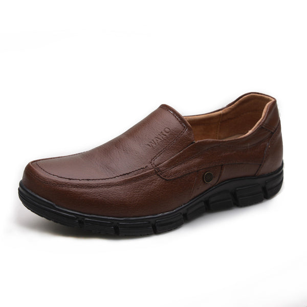 WAKO Male Chef Leather Shoes for Kitchen Men Brown Shoes Super Non-slip Oilproof Cook Shoes for Restaurant Hospital Work Shoes